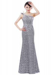 Deluxe Silver Sequined Zipper One Shoulder Sleeveless Floor Length Mother Of The Bride Dress Sequins