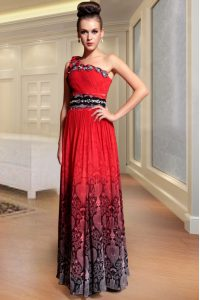 One Shoulder Beading and Pattern and Pleated Mother Of The Bride Dress Red Side Zipper Sleeveless Floor Length