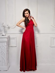 Empire Mother Dresses Wine Red One Shoulder Chiffon Sleeveless Floor Length Side Zipper