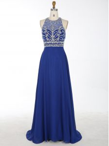 With Train Royal Blue Mother of Bride Dresses Scoop Sleeveless Brush Train Criss Cross