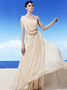 Great Champagne Mother Of The Bride Dress Prom and Party with Beading and Ruching One Shoulder Sleeveless Side Zipper