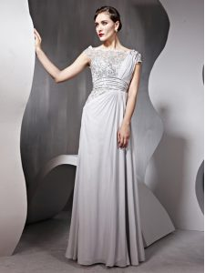 Chiffon Bateau Cap Sleeves Side Zipper Appliques and Ruching Mother Of The Bride Dress in Silver