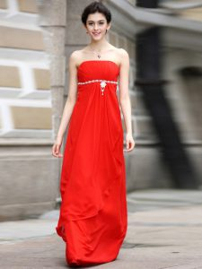 Coral Red Sleeveless Beading and Ruching Floor Length Mother Of The Bride Dress