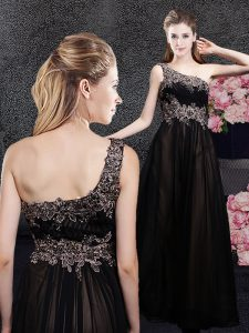Dynamic One Shoulder Black Sleeveless Tulle Side Zipper Mother Of The Bride Dress for Prom and Party and Military Ball and Wedding Party