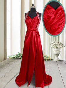 Excellent Halter Top Wine Red Elastic Woven Satin Criss Cross Mother Of The Bride Dress Sleeveless Brush Train Beading