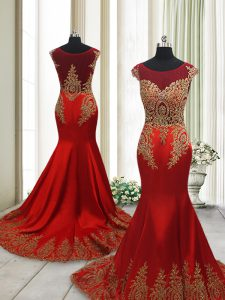 Mermaid Wine Red Mother Of The Bride Dress Prom and Party with Appliques Scoop Cap Sleeves Sweep Train Side Zipper