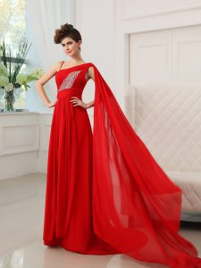 Flare One Shoulder Red Zipper Mother Of The Bride Dress Beading and Ruching Sleeveless With Train Court Train
