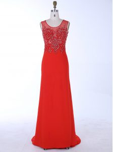 Exceptional Mermaid With Train Red Mother Of The Bride Dress Scoop Sleeveless Brush Train Zipper