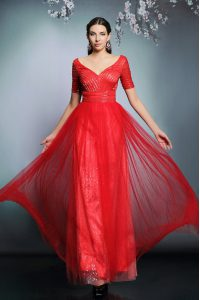 Sequins Mother of Bride Dresses Red Zipper Short Sleeves Floor Length