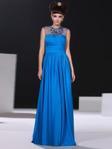 Silk Like Satin Scoop Sleeveless Zipper Beading and Ruching Mother Of The Bride Dress in Blue