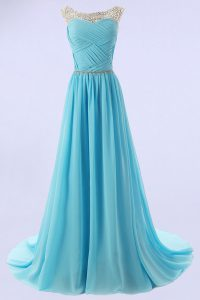 Scoop Baby Blue Zipper Mother Of The Bride Dress Beading Sleeveless With Train Sweep Train