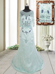 Trendy Apple Green Scoop Neckline Beading and Lace Mother Of The Bride Dress Half Sleeves Zipper