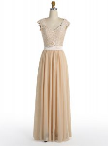Champagne A-line Lace Mother Of The Bride Dress Side Zipper Chiffon Cap Sleeves Floor Length