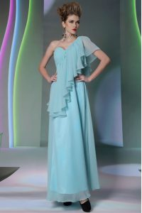 One Shoulder Light Blue Cap Sleeves Ankle Length Ruffles Side Zipper Mother Of The Bride Dress