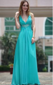 Perfect Aqua Blue Sleeveless Beading Floor Length Mother Of The Bride Dress