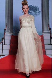 Sumptuous One Shoulder Floor Length Column/Sheath 3 4 Length Sleeve Champagne Mother Of The Bride Dress Side Zipper