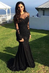 Mermaid Scoop Black Mother of the Bride Dress Tulle Sweep Train Long Sleeves Beading and Lace