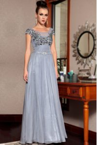 Glamorous Scoop Sequins Grey Cap Sleeves Chiffon Side Zipper Mother Of The Bride Dress for Prom and Party