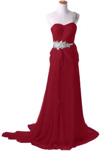 Burgundy Chiffon Zipper One Shoulder Sleeveless With Train Mother Of The Bride Dress Watteau Train Beading