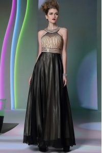 Fashion Halter Top Black Side Zipper Mother Of The Bride Dress Beading Sleeveless Floor Length