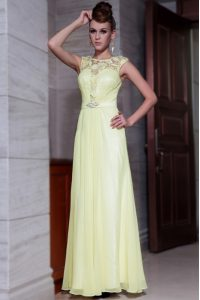 Inexpensive Light Yellow Scoop Neckline Beading and Hand Made Flower Mother Of The Bride Dress Cap Sleeves Zipper