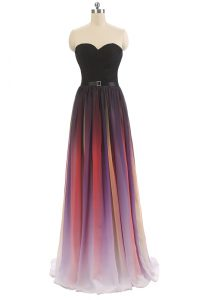Multi-color Empire Belt Mother Of The Bride Dress Lace Up Chiffon Sleeveless Floor Length
