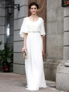 Nice Half Sleeves Beading Zipper Mother Of The Bride Dress