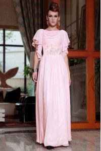 Luxury Bateau Cap Sleeves Side Zipper Mother Of The Bride Dress Pink Chiffon