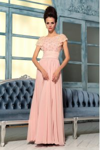 Bateau Cap Sleeves Mother Of The Bride Dress Floor Length Lace and Hand Made Flower Pink Chiffon