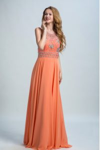 Graceful Orange Scoop Neckline Beading Mother Of The Bride Dress Sleeveless Backless