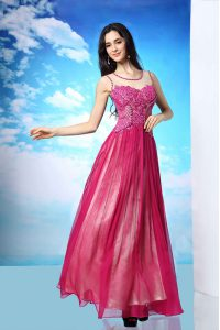 Scoop Floor Length Fuchsia Mother Of The Bride Dress Chiffon Sleeveless Beading