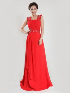 Glamorous Coral Red Column/Sheath Chiffon Straps Sleeveless Beading and Ruching Floor Length Zipper Mother Of The Bride Dress