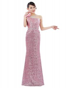 Free and Easy Pink Column/Sheath One Shoulder Sleeveless Sequined Floor Length Zipper Sequins Mother Of The Bride Dress