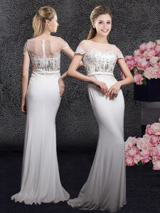Scoop Appliques and Sequins Mother Of The Bride Dress White Zipper Short Sleeves With Brush Train