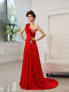 One Shoulder Sleeveless Court Train Beading and Hand Made Flower Zipper Mother Of The Bride Dress