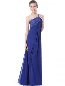Superior Floor Length Blue Mother Of The Bride Dress One Shoulder Sleeveless Criss Cross