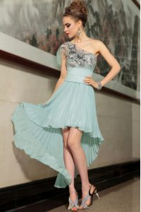 Light Blue Empire Chiffon One Shoulder Sleeveless Pleated High Low Side Zipper Mother Of The Bride Dress