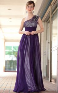Perfect Purple Chiffon Side Zipper One Shoulder Sleeveless Floor Length Mother of Bride Dresses Beading and Appliques