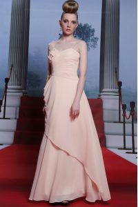 One Shoulder Long Sleeves Appliques and Ruching Side Zipper Mother Of The Bride Dress