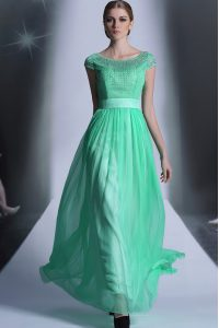 Turquoise Scoop Neckline Beading Mother Of The Bride Dress Cap Sleeves Side Zipper