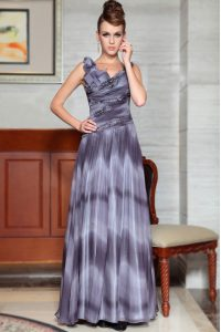 Suitable Floor Length Grey Mother of Groom Dress V-neck Sleeveless Side Zipper