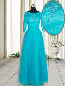 Best Selling Teal Empire Scoop Half Sleeves Tulle Floor Length Zipper Beading and Lace and Appliques Mother Of The Bride Dress