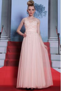 Scoop Baby Pink Chiffon Side Zipper Mother Of The Bride Dress Sleeveless Floor Length Lace