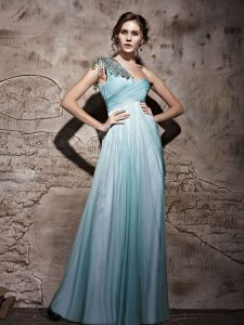 Custom Made Light Blue Mother Of The Bride Dress Prom and Party with Beading and Ruching One Shoulder Sleeveless Side Zipper
