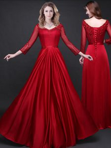 Long Sleeves Elastic Woven Satin Floor Length Lace Up Mother Of The Bride Dress in Wine Red with Appliques and Belt