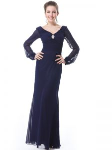 V-neck Long Sleeves Mother Of The Bride Dress Ankle Length Ruching Navy Blue Organza