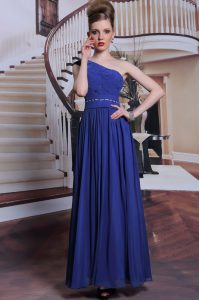 One Shoulder Royal Blue Chiffon Side Zipper Mother Of The Bride Dress Sleeveless Floor Length Beading and Pleated