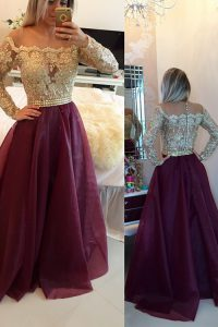 Scoop Burgundy Organza Zipper Mother Of The Bride Dress Long Sleeves Floor Length Beading and Appliques