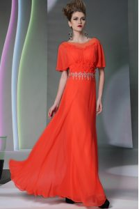 Scoop Coral Red Short Sleeves Appliques Ankle Length Mother Of The Bride Dress