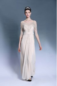 Cheap Bateau Short Sleeves Chiffon Mother Of The Bride Dress Beading and Pleated Zipper